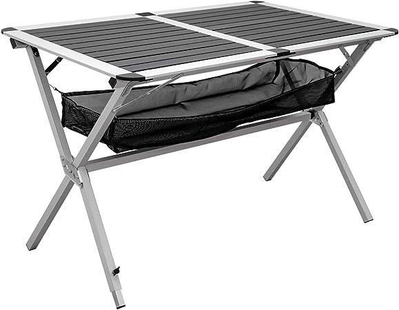 AMANKA Mesa Plegable de Acampada 110x71x71 Mueble de Camping Aluminio Antracita