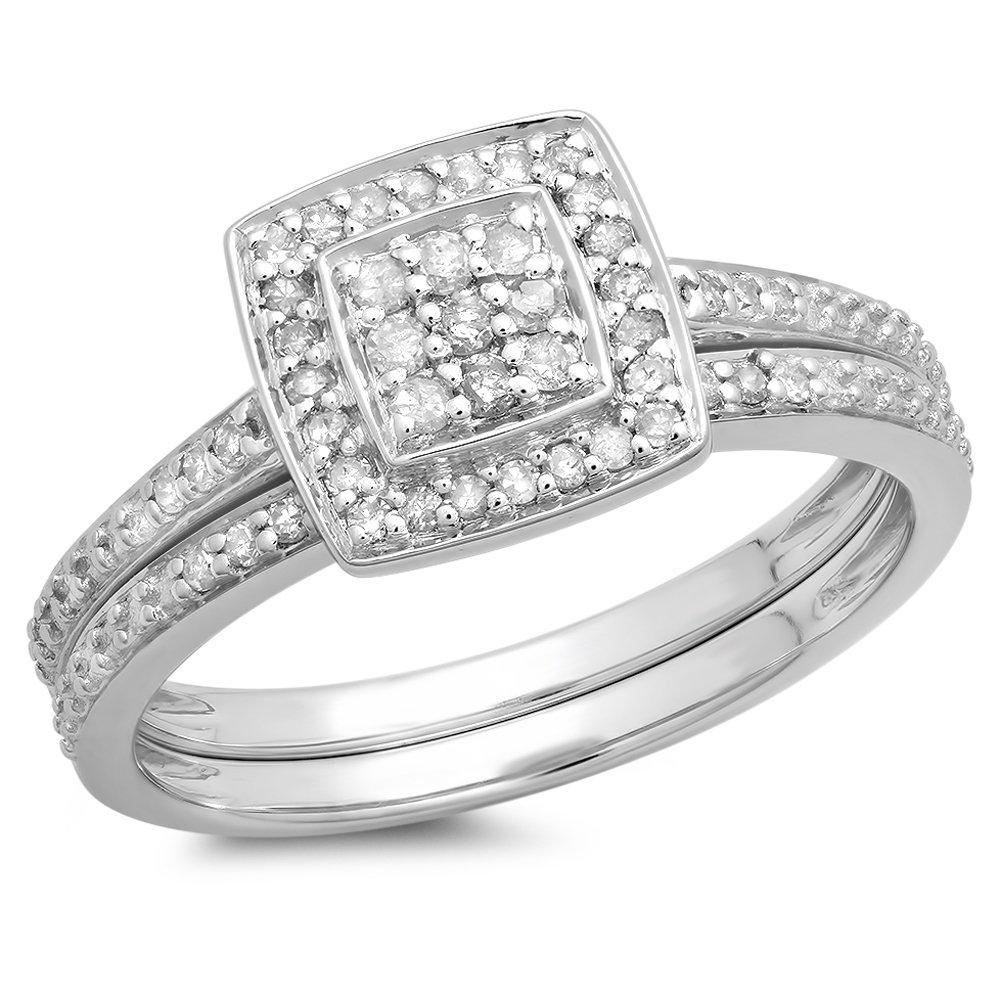 0.30 Carat (ctw) Sterling Silver Round White Diamond Ladies Bridal Engagement Ring Set 1/3 CT (Size 9)