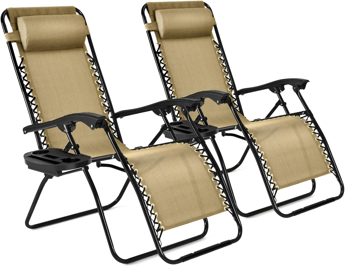 Flexzion Zero Gravity Patio Lounge Chairs Recliners Set of 2 Pack (Beige) Reclining Folding Chaise Sun Loungers with Removable Padded Pillow Headrest & Cup Holder Tray, Max Weight 265 Lbs for Outdoor