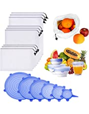 Silicone Stretch Lids and Reusable Mesh Produce Bags,15 Pack Reusable Durable Expandable BPA Free Containers for Shopping Kitchen