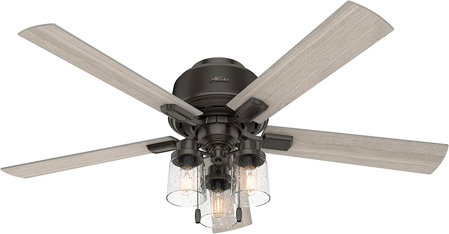 """HUNTER 50313 Low Profile Indoor Ceiling Fan with LED Lights and Pull Chain, 52"""", Noble Bronze"""