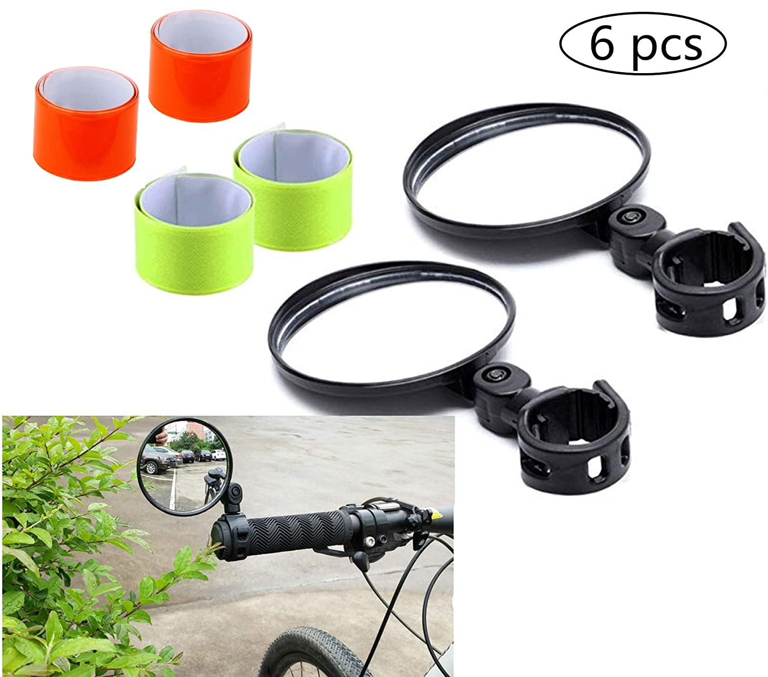 NF orange 2-Pack Adjustable Rotatable Handlebar Glass Mirror for Mountain Road Bike Cycling Bicycle Bonus 4 Pcs Reflective Bands for Cycling