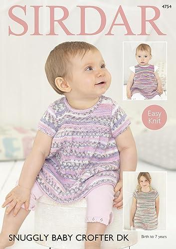 Sirdar 4754 Knitting Pattern Baby & Girls Easy Knit Dresses in ...