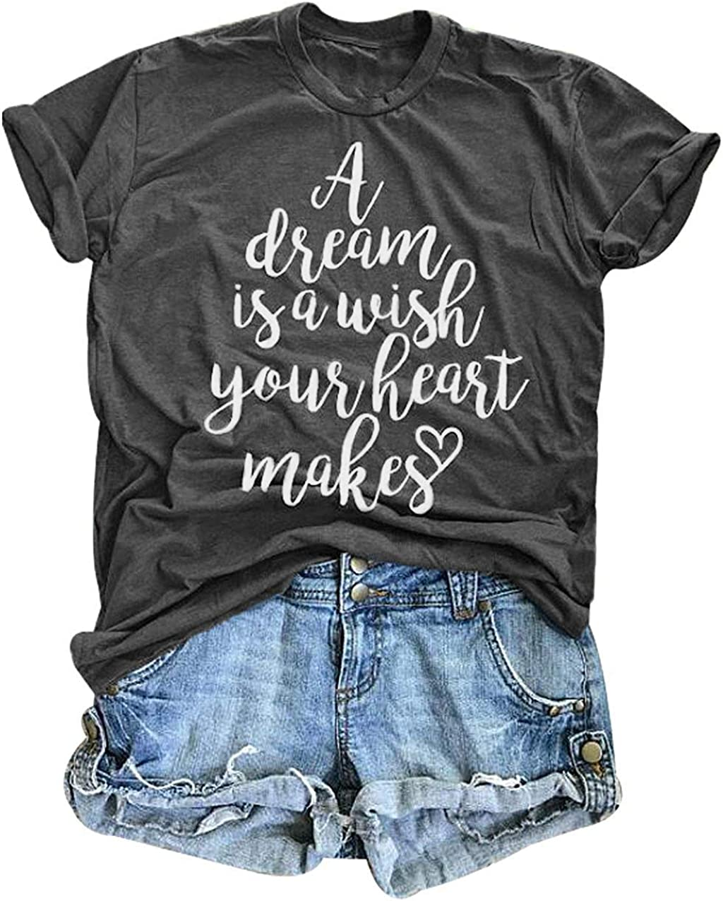 AEURPLT Womens Summer Funny Graphic Shirts Casual Vintage T Shirt Tops A Dream is A Wish Your Heart Makes Tees