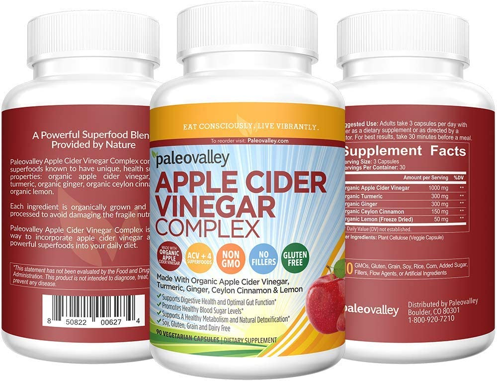 Paleovalley Apple Cider Vinegar Complex – Digestive Support – 90 Capsules – Organic Ingredients – Help Stabilize Blood Sugar – Promote Weight Loss – Improve Protein Absorption