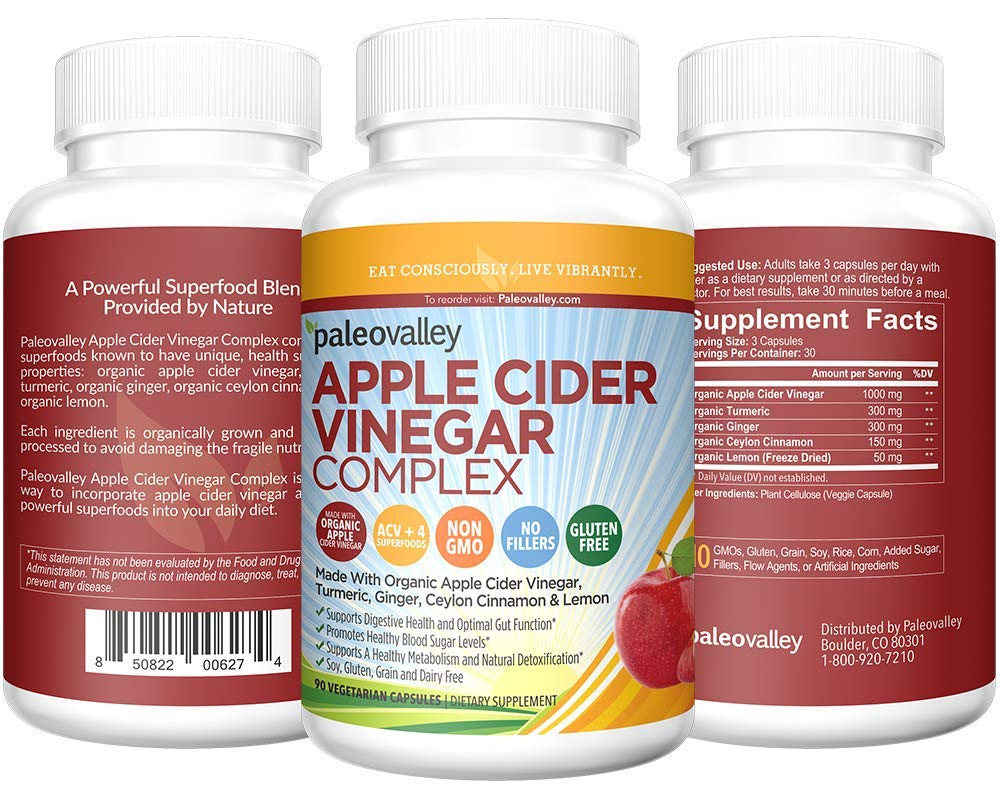 Paleovalley: Apple Cider Vinegar Complex - Digestive Support - 90 Capsules - Organic Ingredients - Help Stabilize Blood Sugar - Promote Weight Loss - Improve Protein Absorption by Paleovalley