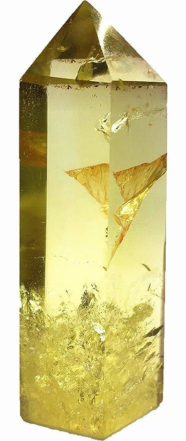 66ecd5c453f5 Amazon.com  Yinglai 1pcs Large Natural Quartz Crystal Yellow Rainbow Smokey  Citrine Tower Point Wand Healing As Gifts  Home   Kitchen
