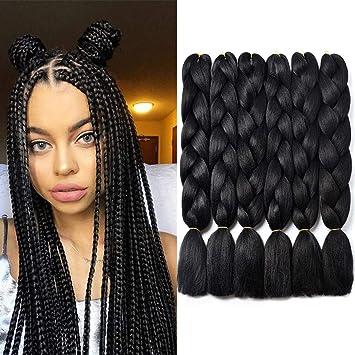 Amazon Com Kanekalon Extensiones De Pelo Sintético De Fibra De Alta Temperatura Para Trenzar Crochet Trenzas 6 Paquetes Color Negro Beauty