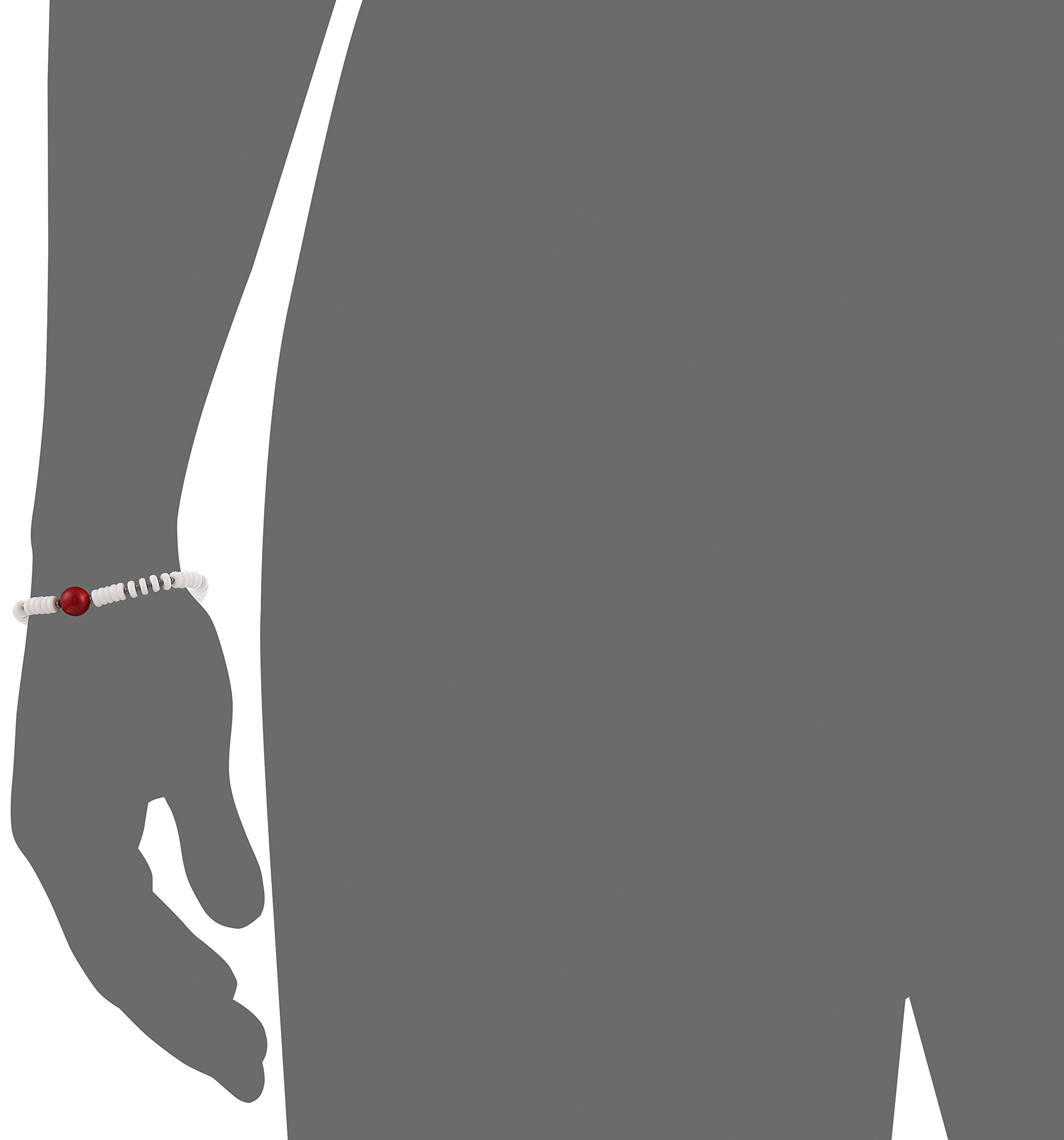 King Baby Unisex White Shell with a Round Red Coral Bead Bracelet, 7.75'' by King Baby (Image #2)
