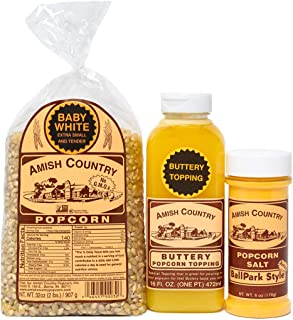 product image for Amish Country Popcorn | 2 lb Bag | Baby White Popcorn Kernels with Buttery Topping & ButterSalt | Old Fashioned with Recipe Guide