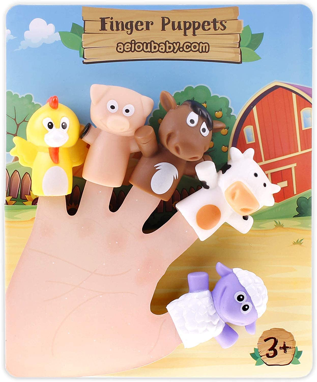 ML Marionetas de Dedo para niños y bebés, 5 Juguetes de Animales de Granja, Títeres de Mano de PVC Sin BPA - Juguetes para el baño - Muñecos de Mano