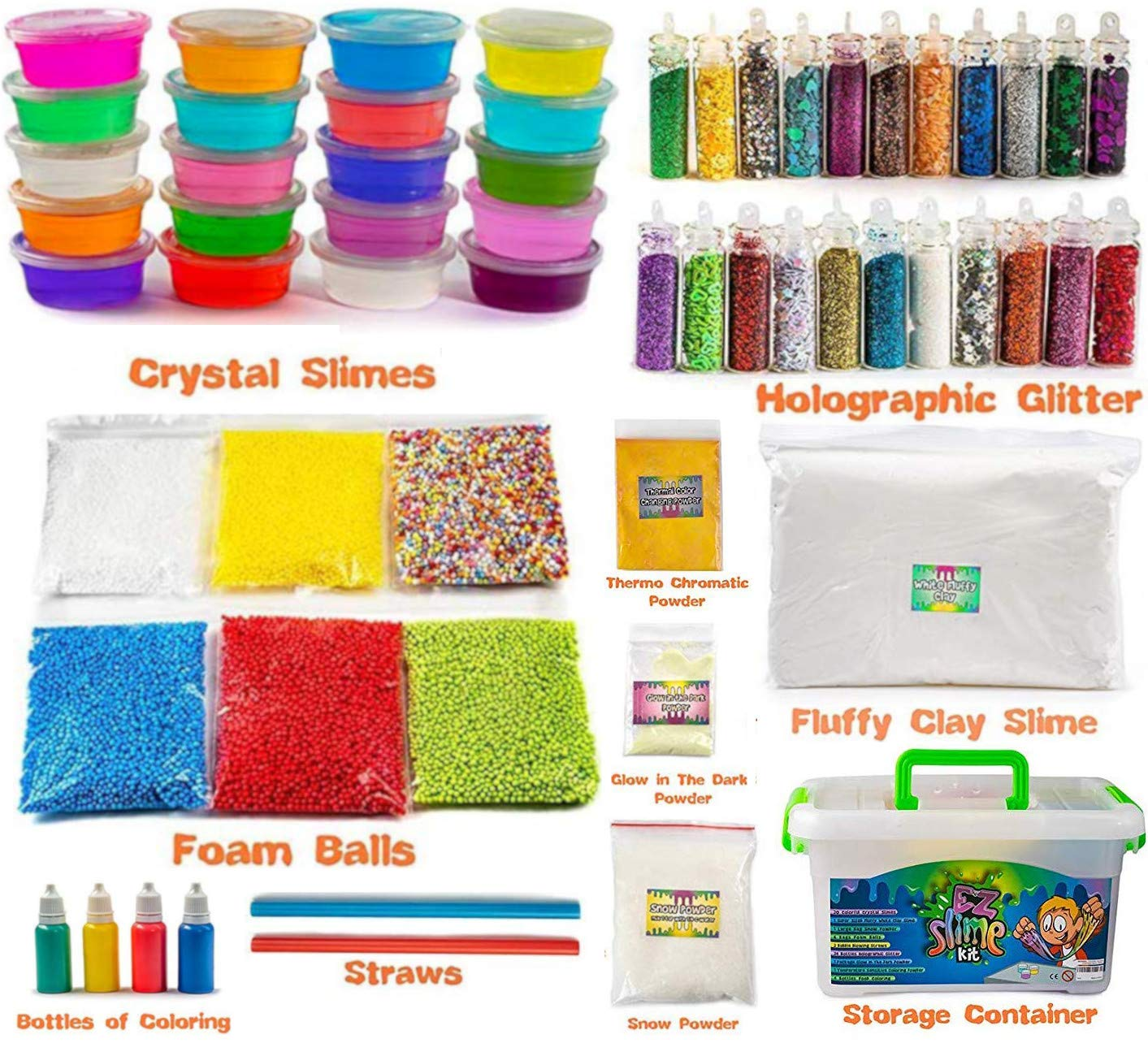 EZ Slime Kit- Boys Girls Everyone. Crystal Slime, Fluffy Clay Slime, Fake Snow, Glow Powder, Thermal Powder, Foam Beads, Glitter, Plus More. 60 Piece Kit. Over 3 Pounds by EZ Slime Kit (Image #4)