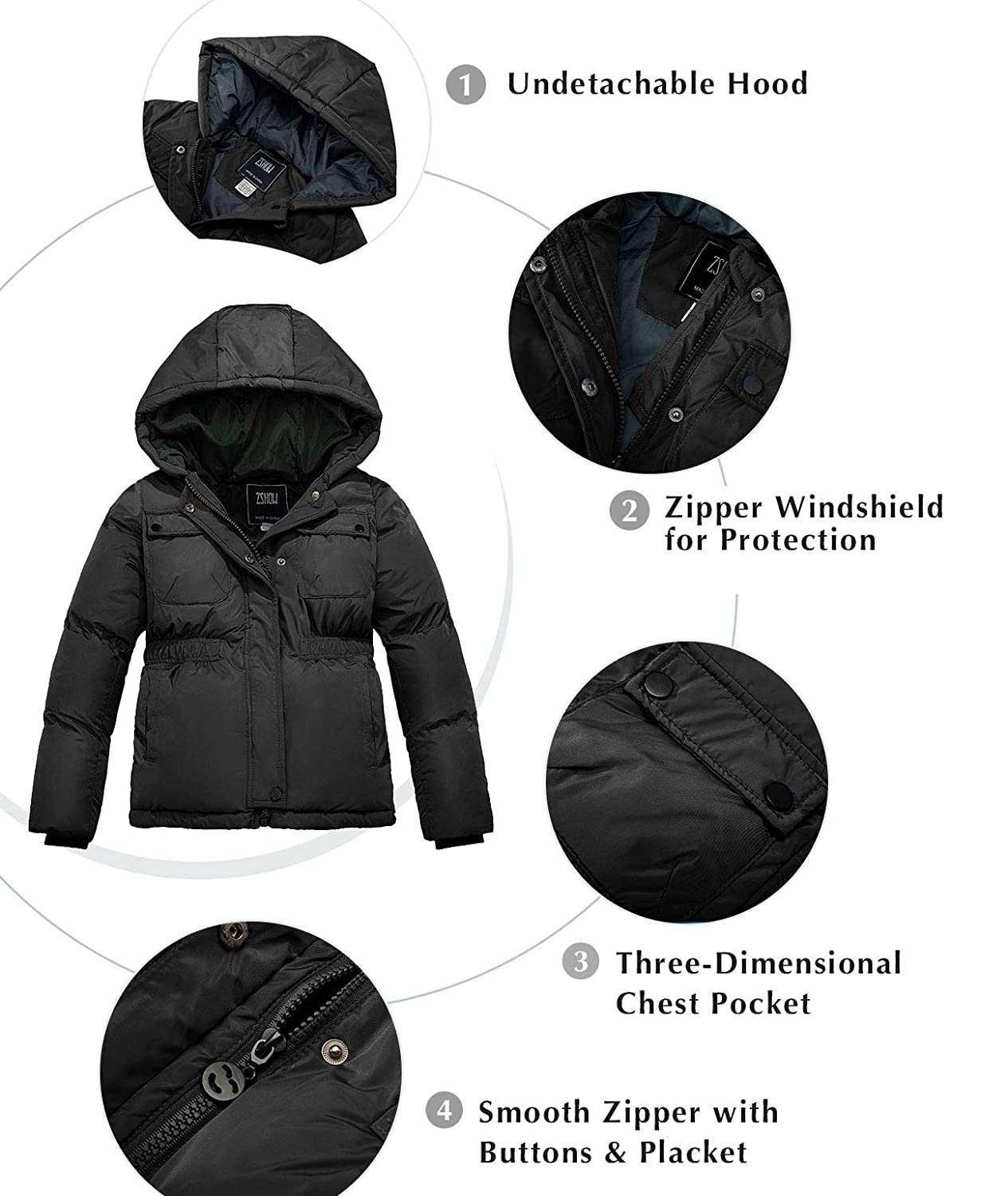ZSHOW Boys Mid-Length Hooded Winter Coat Windproof Fleece Inner Quilted Parka Thicken Puffer Jacket