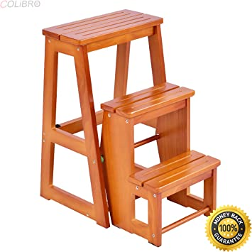 COLIBROX--Wood Step Stool Folding 3 Tier Ladder Chair Bench Seat Utility  Multi-functional. chair bench for sale. wooden step stools for the kitchen.  ...