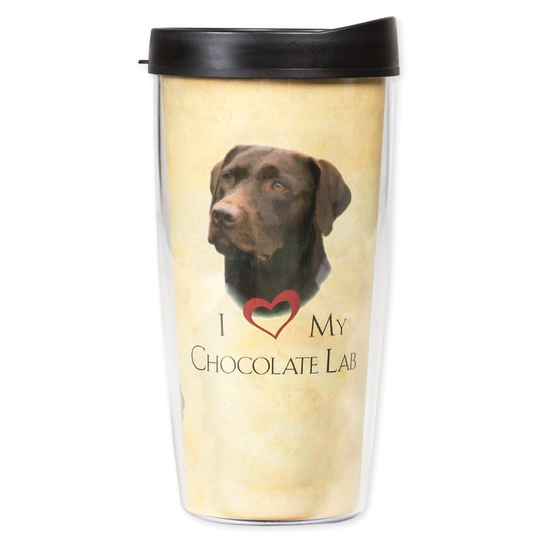 I Love My Chocolate Lab Dog Paws 16 Oz Tumbler Mug with Lid by Signature Tumblers (Image #1)