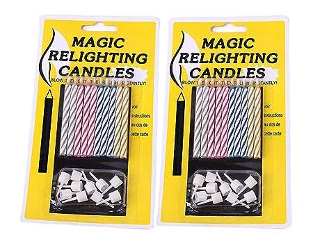 TOUCH vida mágica fiesta de velas con soportes feliz cumpleaños velas creativos, compre una llévese una gratis., plástico, multicolor, Pack de 2