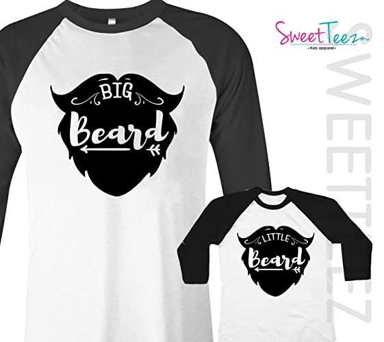 2d1fe4bc1 Amazon.com: Big Beard Little Beard Shirt Set Dad Son Gift Matching Shirts  Black Raglan Baseball Shirts: Handmade