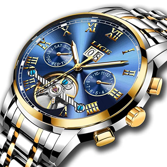 Reloj de pulsera para hombre de LIGE, mecánico automático, reloj de lujo, de