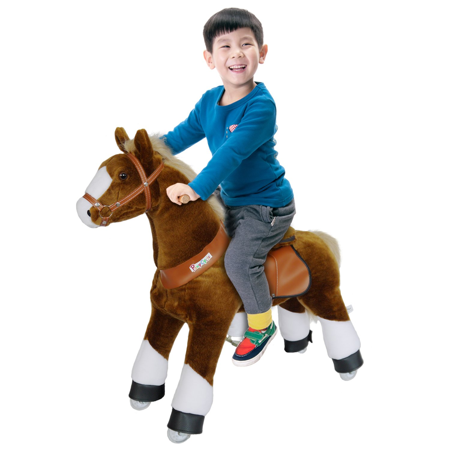PonyCycle Official Ride-On Horse No Battery No Electricity Mechanical Pony Brown with White Hoof Giddy up Pony Plush Walking Animal for Age 4-9 Years Medium Size - N4151 by PonyCycle (Image #5)