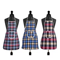 Yellow Weaves Waterproof Cotton Kitchen Multi Colour Apron With Front Pocket - Set Of 3