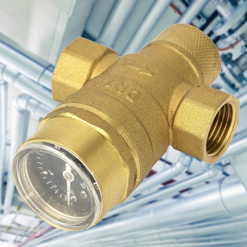 1//2 Brass Water Pressure Regulator Relief Valve Pressure Reducing Regulator Valve Water Flow Valve with Guage Pressure Reducing Valve