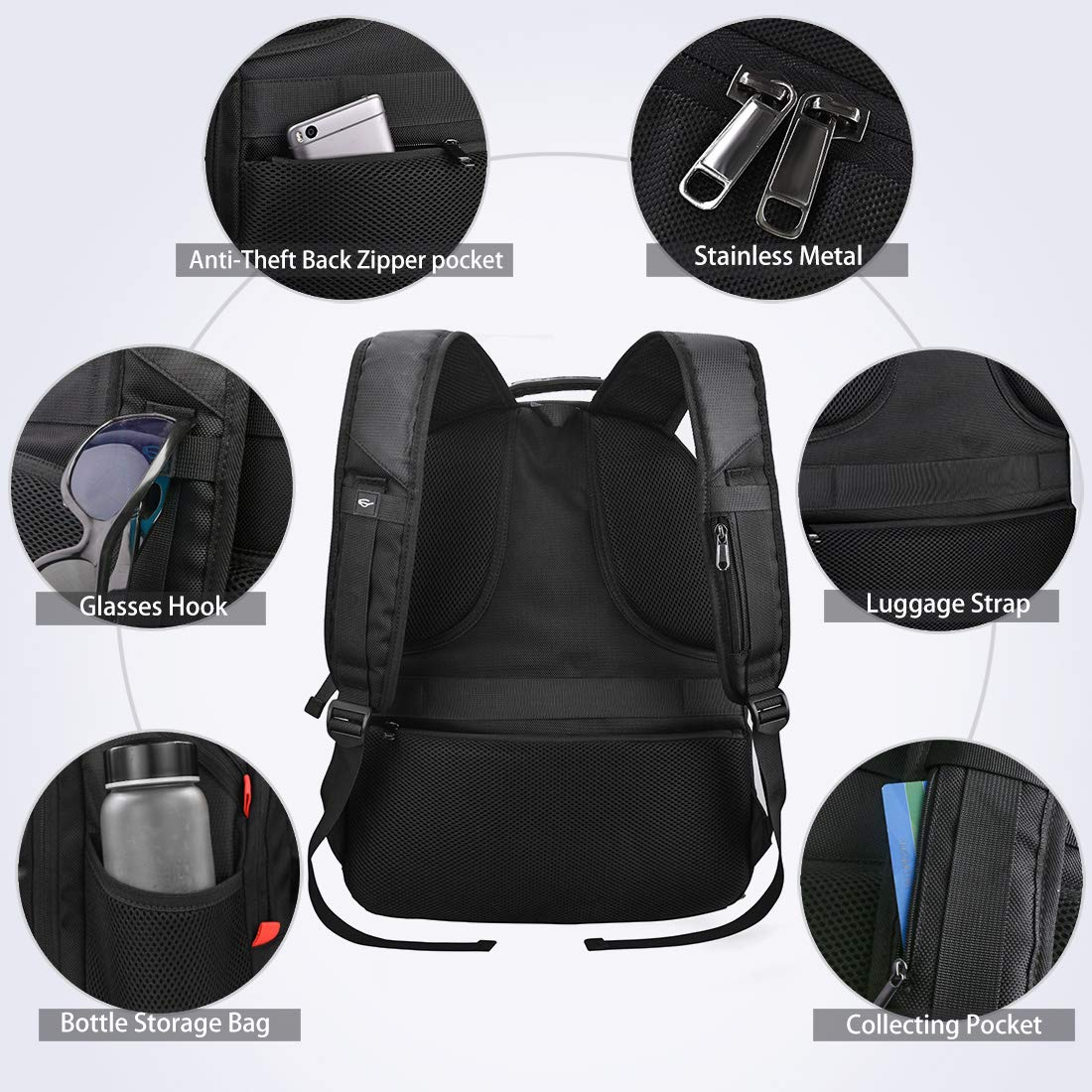 Laptop Backpack Extra Large Travel Backpacks for Men Women Waterproof TSA Friendly Business Traveling Computer Bag College School Bookbag with USB Charging Port Fit 17.3 Inch Laptop Notebook Black NUBILY