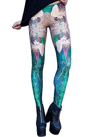 b6f56a3b09 Unique-Shop Womens Yoga Pants Mermaid Print Tights Elastic Sport Slim  Fitness Leggings,Small