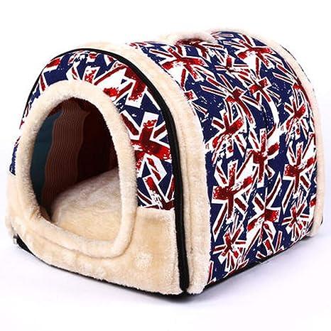 Hpybest Casa para Mascotas con Alfombrilla Plegable para Mascotas, Cama para Perros pequeños y medianos