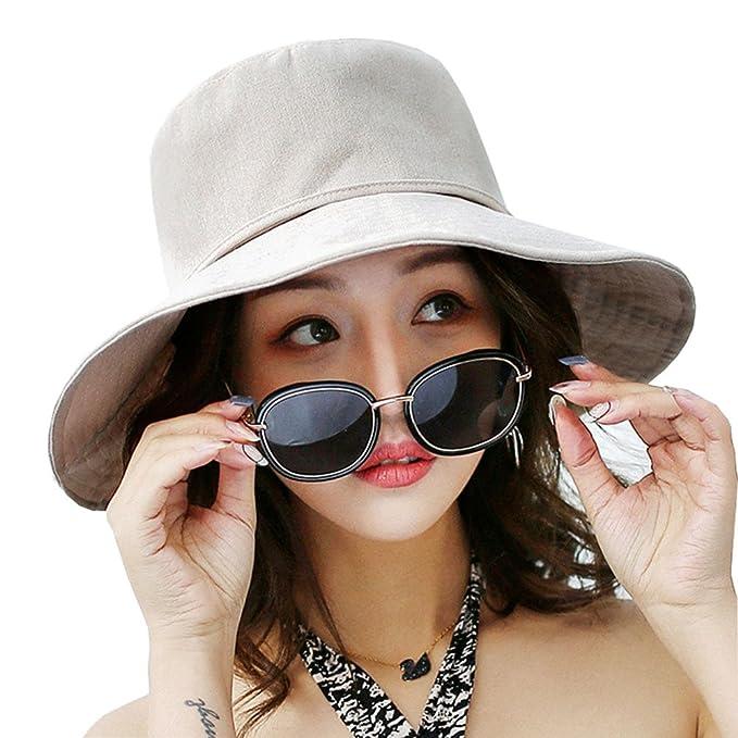 314efa78b1c ASSQI Women s Sun Hats Summer Beach Foldable Cotton Cap Wide Brim Chin Cord  Beige