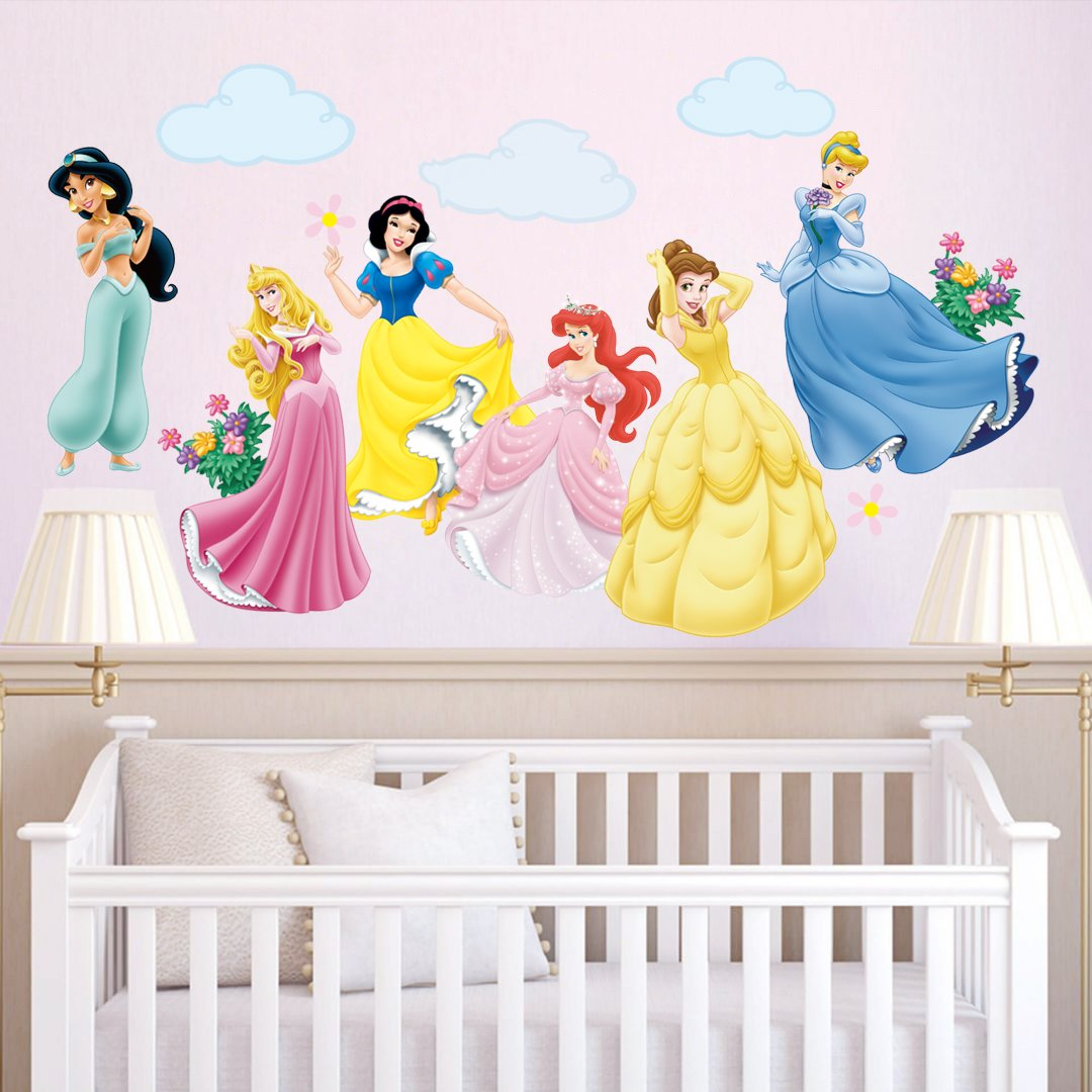 decalmile Princess Wall Stickers Murals Removable Vinyl Girls Room Wall Decals Nursery Baby Bedroom Wall Decor (6 Different Theme Princess) by decalmile