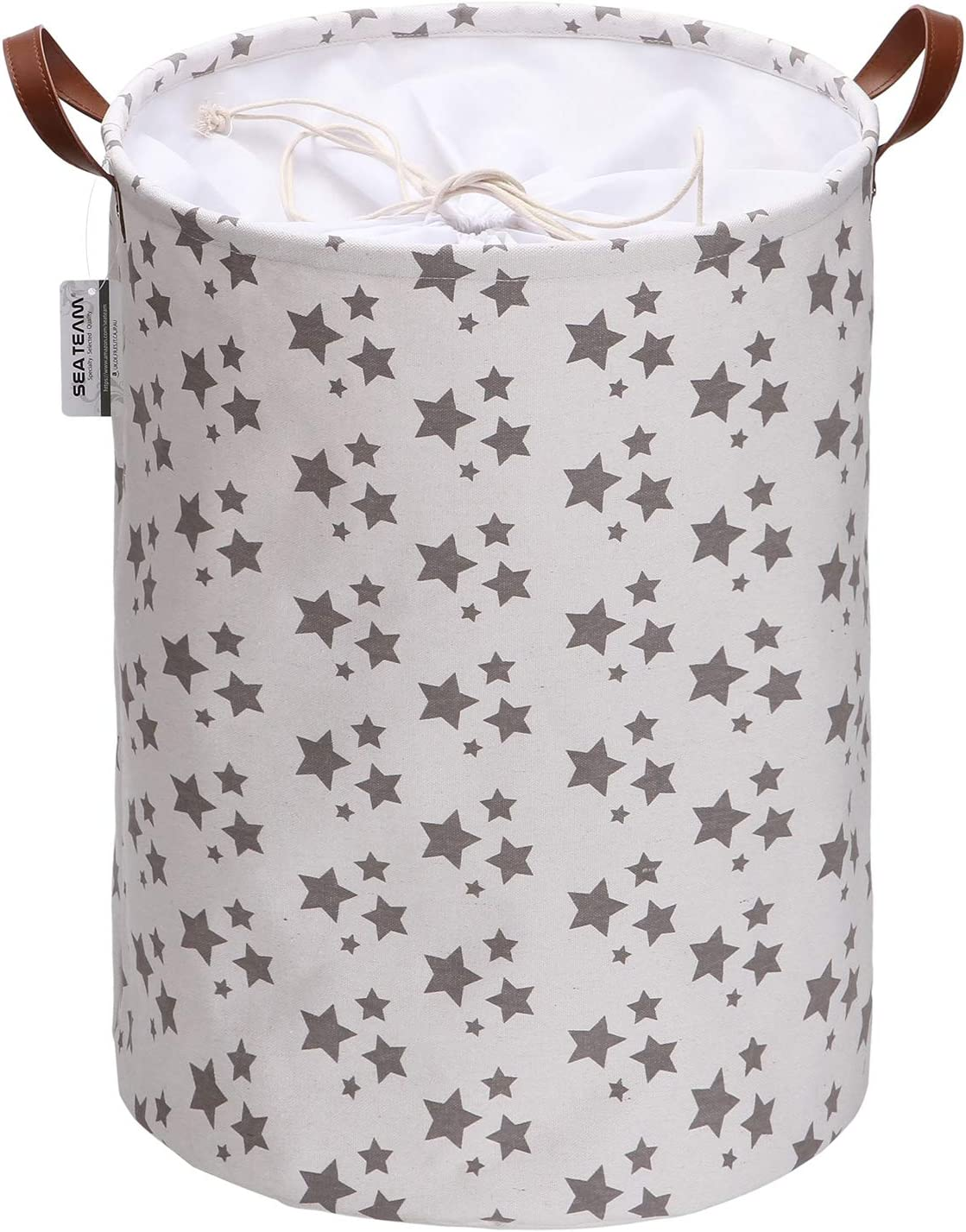 Sea Team Star Pattern Laundry Hamper Canvas Fabric Laundry Basket Collapsible Storage Bin with PU Leather Handles and Drawstring Closure, 19.7 by 15.7 inches, Waterproof Inner, White