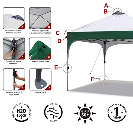 ABCCANOPY Pop Up Canopy Tent Commercial Canopy 10 x 10 Better Air Circulation Canopy Tents with Wheeled Carry Bag 4 x Sandbags, 4 x Ropes 4 x Stakes, Gray with Green