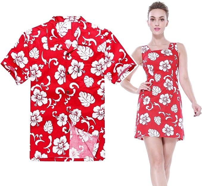 Amazon.com: Par Matching Hawaiian Luau Outfit Aloha Camisa ...
