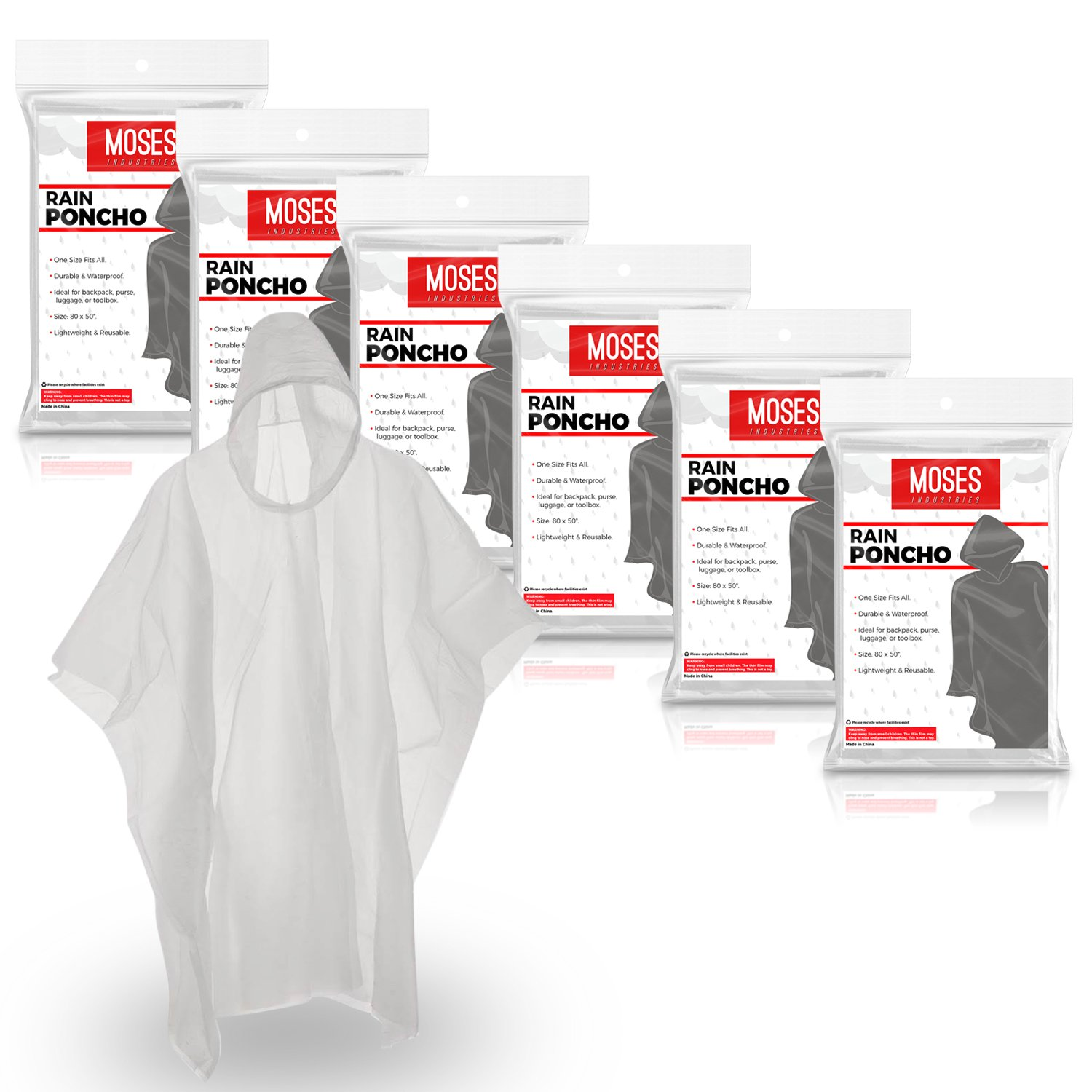 Rain Ponchos for Adults: Lightweight and Waterproof Disposable Emergency Poncho for Travel and Outdoor Activities - Clear (6 Pack) - Fits Men and Women by Moses Industries