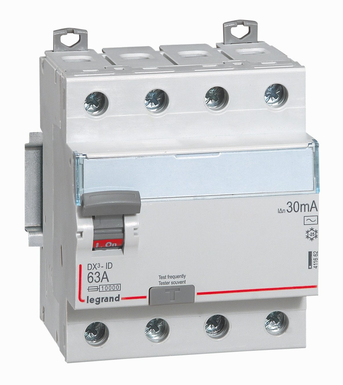 Legrand LEG411661 Interrupteur diff/érentiel dx-id Vis//Vis 4P 400 V 40 A Type AC 30 mA D/épart bas 4 m