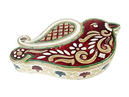 Balaji Arts Handmade Sparrow Shaped Decorative Meenakari Dry Fruit Box for Kitchen
