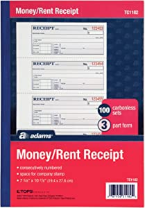 "Adams Money and Rent Receipt Book, 3-Part, Carbonless, White/Canary/Pink, 7-5/8"" x 10-7/8"", Bound Wraparound Cover, 100 Sets per Book, 4 Receipts per Page (TC1182)"