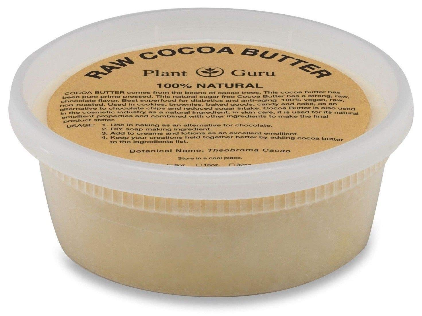Raw Cocoa Butter 8 oz Pure 100% Unrefined FOOD GRADE Cacao Highest Quality Arriba Nacional Bean, Bulk Rich Chocolate Aroma For Lip Balms, Stretch Marks, DIY Base for Body Butters & Soap Making Plant Guru