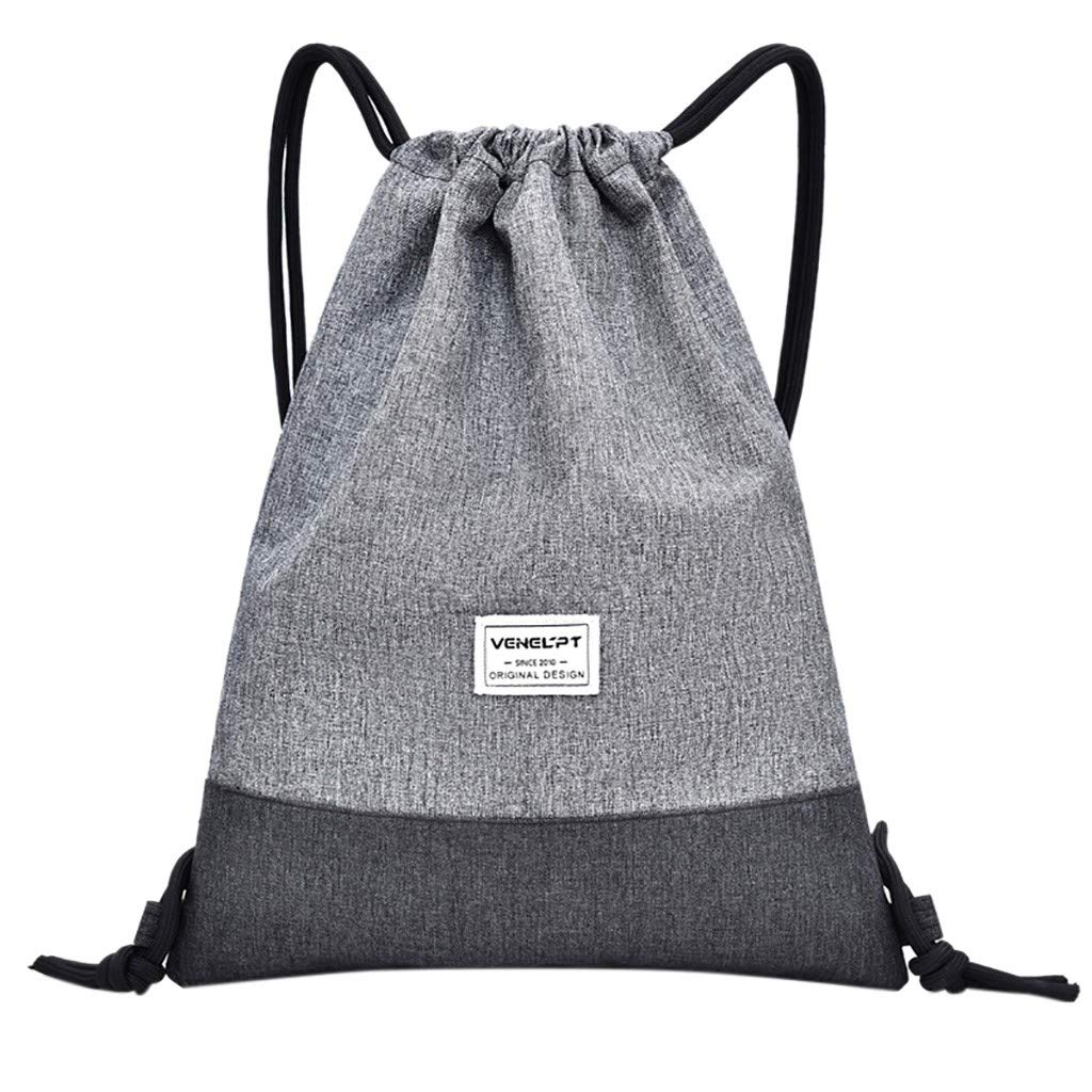Anxinke Women Girls Solid Color Sport Oxford Drawstring Backpack Bags (Gray)