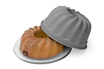 BackeFix Torta del anillo para que no se pegue - molde para bizcochos bundt forma silicona - gris Ø 23cm: Amazon.es: Hogar