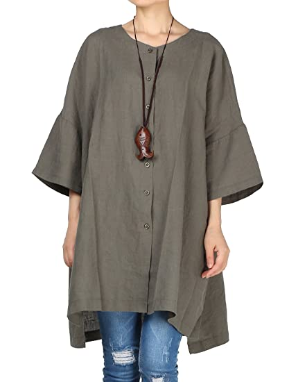 9ac0a4b7c30 Vogstyle Women's Linen Loose Shirt Plain Flare Sleeve T Shirt Tops Blouse  (Army Green)