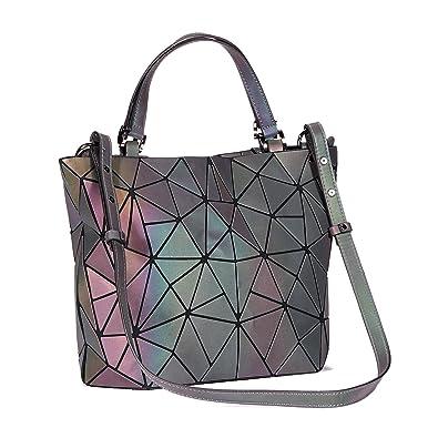 7435e0766a520 Rinhoo Geometrische Leucht Geldbörse Handtasche für Frauen Große Tasche  Holographische Top-Griff Taschen