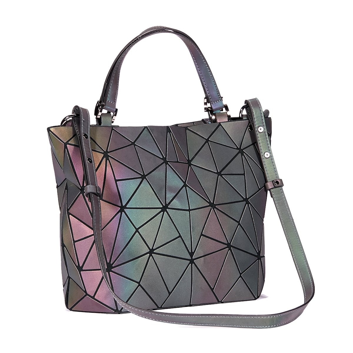 Geometric Luminesk Purses Handbags Large Tote Gift for Women Holographic Top-Handle with Zipper Closure Messenger Satchel Bags (Large Handbags)