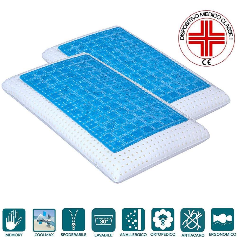 ... funda antiácaros desenfundable tela Coolmax lavable, almohada cama 40 x 70 alto 12 CM terapéutico automodellante, Modelo saponetta caras reversibles ...