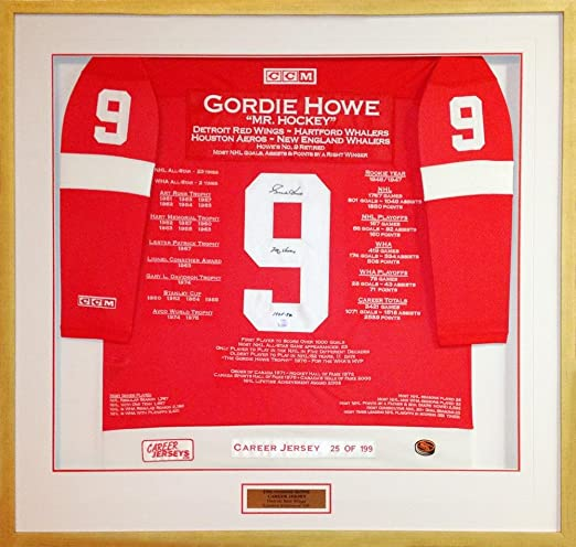 c57d0185ed6 Amazon.com: Gordie Howe Signed Jersey - Framed Career Ltd Ed 199 - Autographed  NHL Jerseys: Sports Collectibles