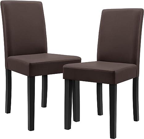 en.casa] 2 sedie imbottite (marrone opaco) (Ottima qualità