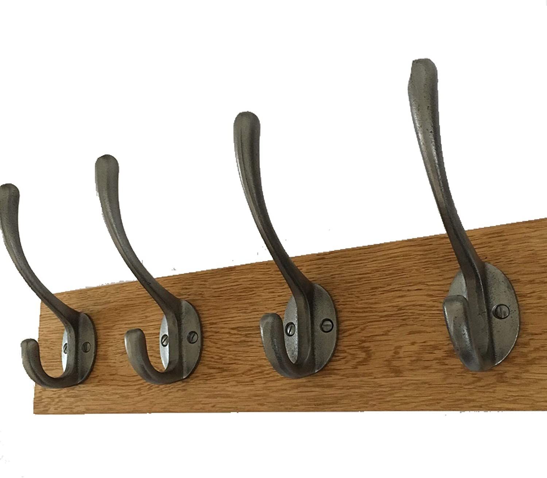 Element Wooden Designs Antique Coat Rack Industrial Cast Iron Hooks Solid Oak Wood Vintage Wall Mounted 30cm 3 Hooks