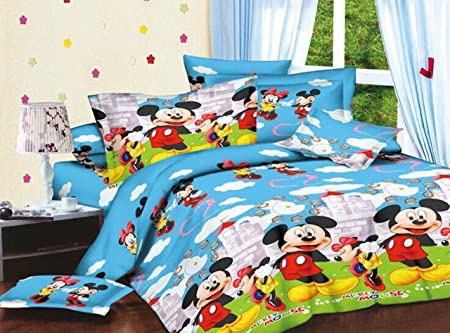 Hargunz Polycotton Floral Double Bedsheet with 2 Pillow covers-multi