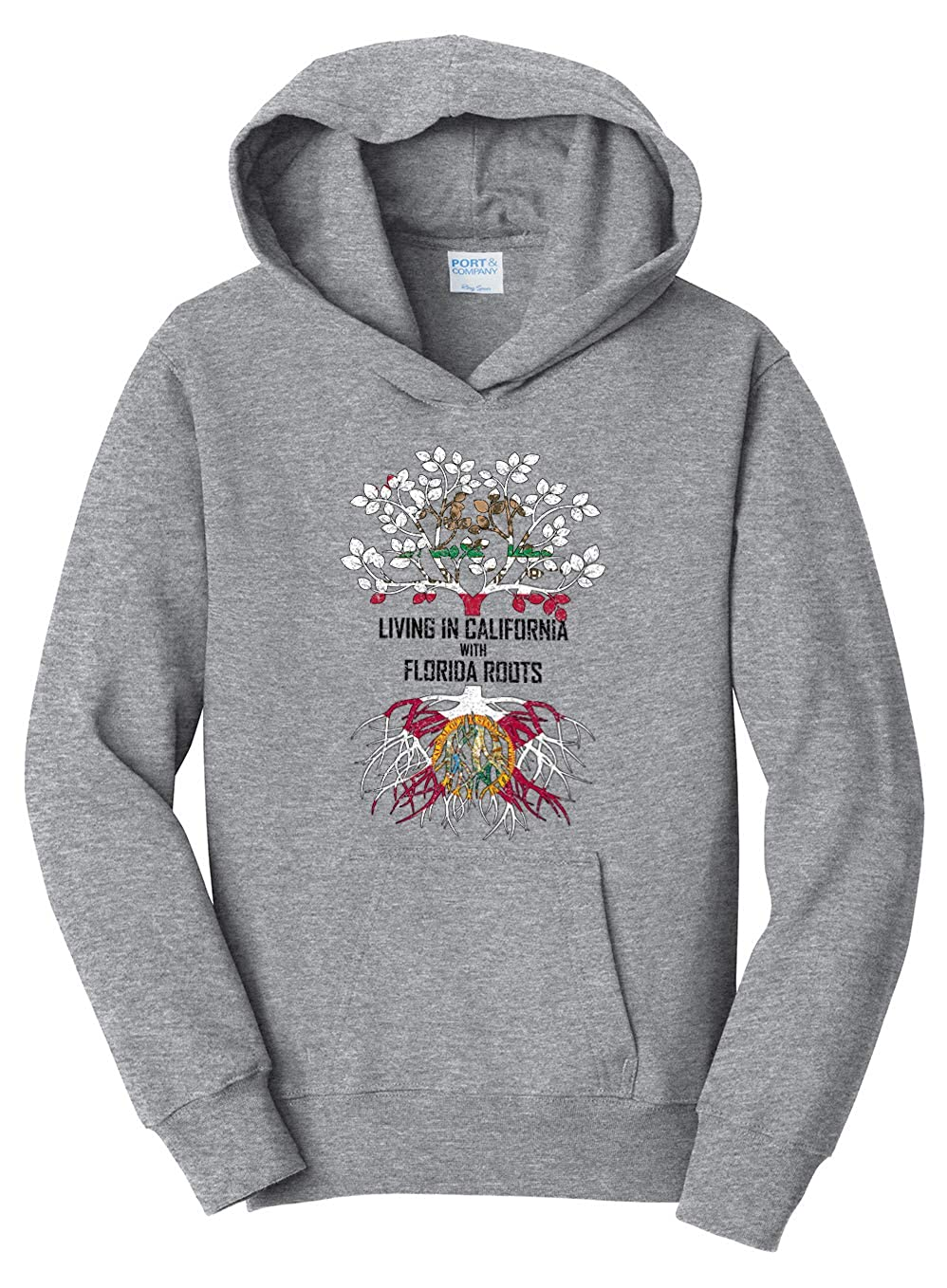 Tenacitee Girls Living in California with Florida Roots Hooded Sweatshirt