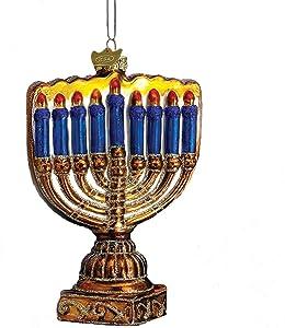 Kurt Adler 4-1/2-Inch Noble Gems Glass Menorah Ornament